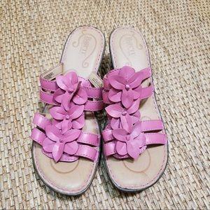 Born Pink Leathers Floral Wedge Slide On Sandals